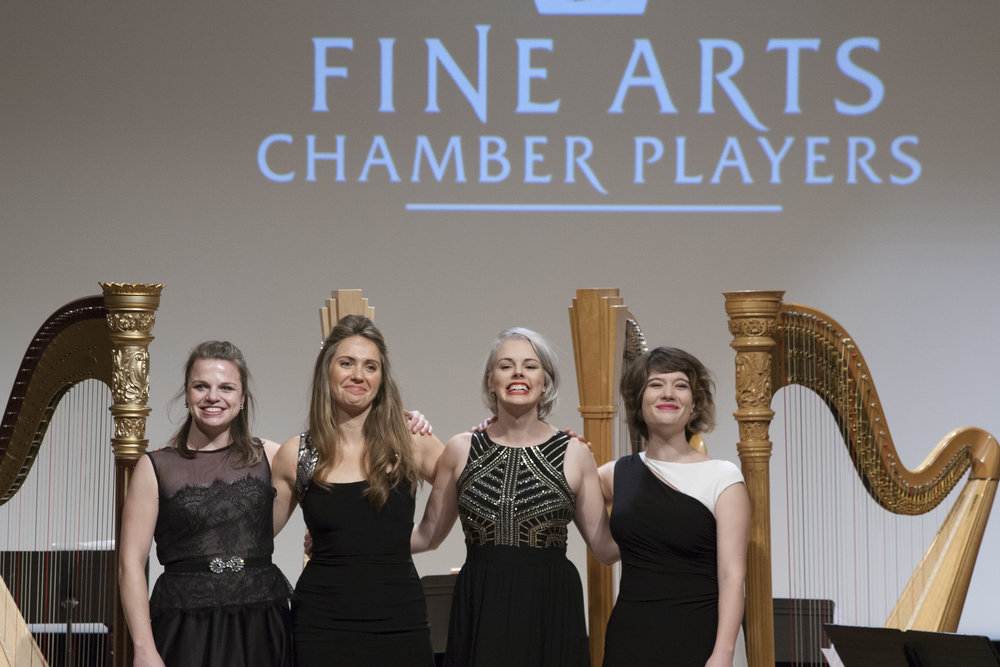 From left, The Dallas Harp Quartet Grace Browning, Cheryl Losey Feder, Karen Thomas, and Emily Levin.