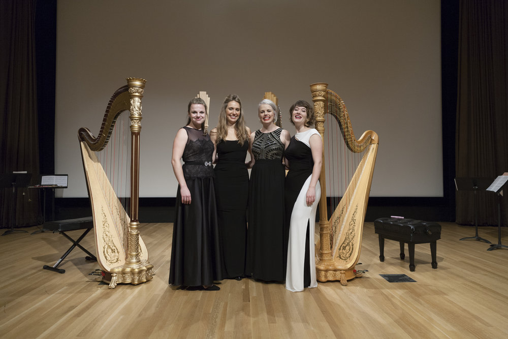 From left, The Dallas Harp Quartet  Grace Browning, Cheryl Losey Feder, Karen Thomas, and Emily Levin. Dallas, Oct 15, 2016. (Noah Winston/ Winston Photography)