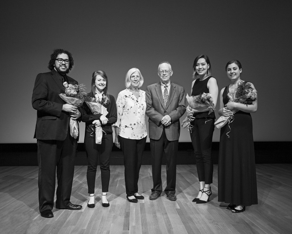 From left— The Cézanne Quartet violist, Steven Juarez, violinist Lauren Densinger, Cathy and Eric Barr, violist, Eleanor Dunbar, and cellist, Elizabeth White. Dallas May 13, 2017. (Noah Winston/ Noah Winston Photography)