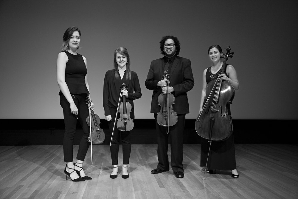 From left— The Cézanne Quartet, Eleanor Dunbar, Lauren Densinger,Steven Juarez, Elizabeth White. Dallas May 13, 2017. (Noah Winston/ Noah Winston Photography)