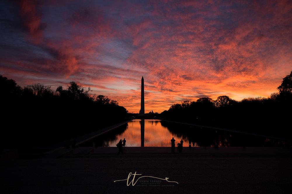 November Sunrise at The Washington Monument and Reflecting Pool in Washington, DC.