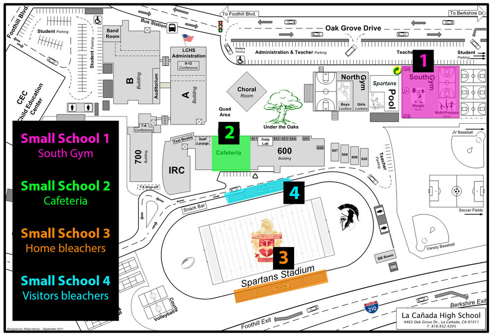 LCHS campus map displaying meeting spots for first day of school.