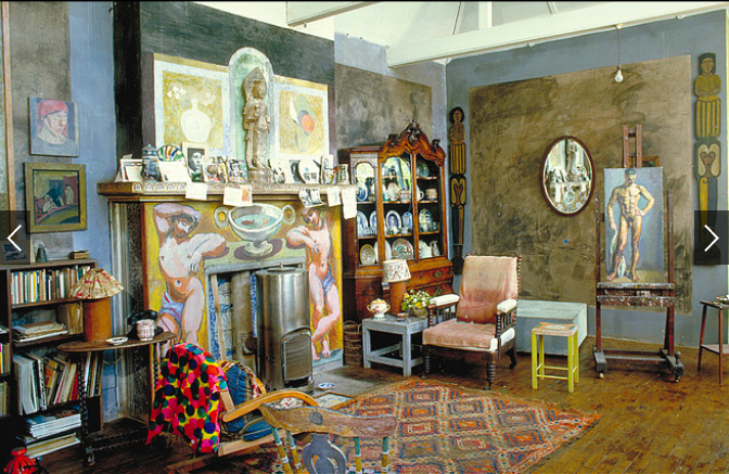 HISTORY REPEATS The interior of Charleston, where Vanessa Bell lived with longtime lover Duncan Grant from 1916 until her death in 1961. The two painted walls, furniture and the fireplace.