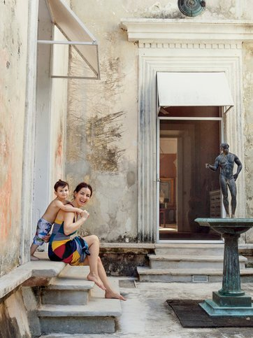 The Mexican actress Claudia Lizaldi with her son Iam, visiting the hacienda of Jorge Marín, a friend and sculptor.   PHOTO: PAUL COSTELLO    See the interactive slideshow