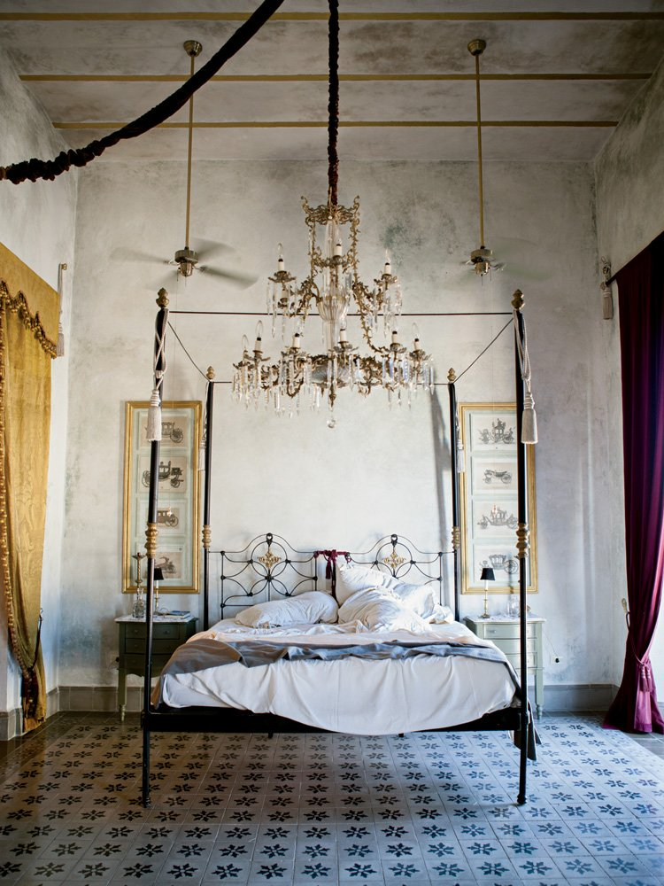 A refurbished room at the Coqui Coqui guesthouse, inspired by the belle époque period.