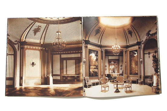 A spread from the book 'L'Art Du Treillage' showing the ornate latticework by Achille Duchêne in Elsie de Wolfe's Villa Trianon in Versailles, France.