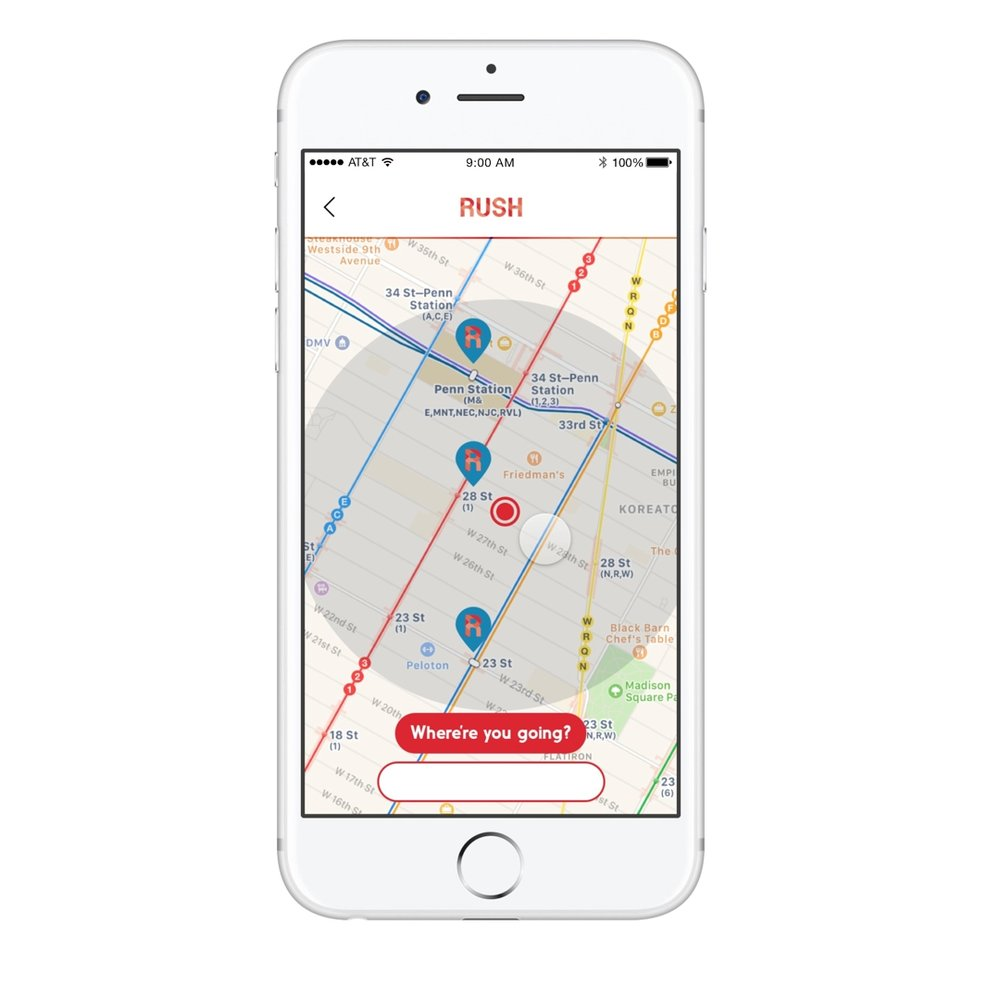 Finder helps you plan your commute with a RUSH machine on the way