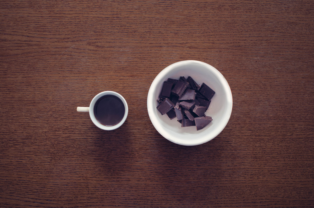 Dark chocolate and Coffee share similar characteristics, such as caffeine.