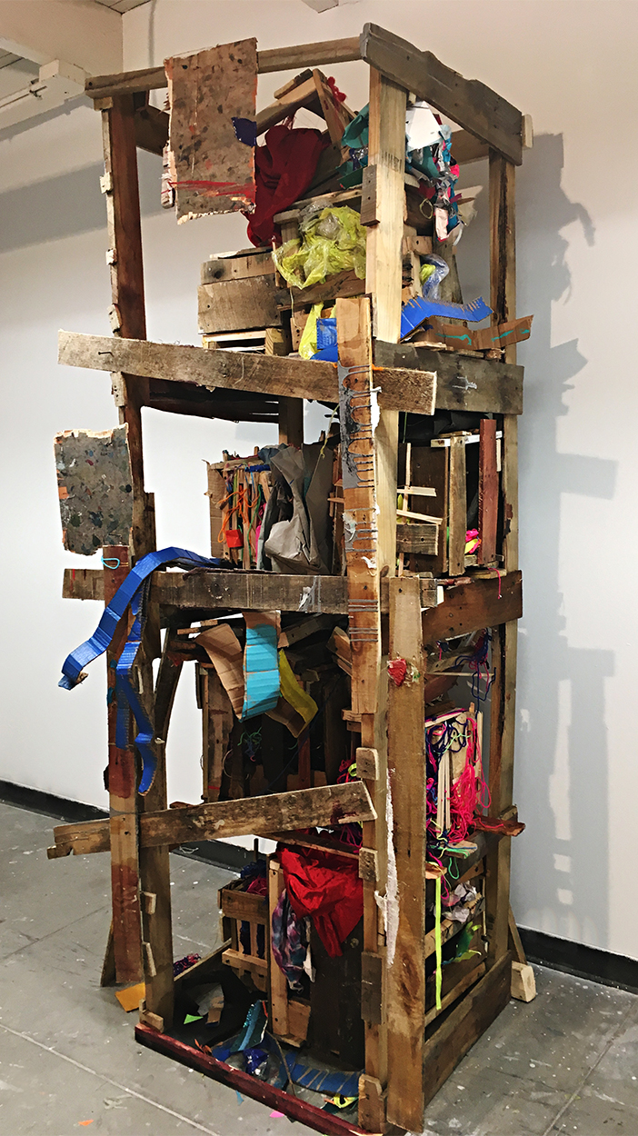 "Tools For Segregation  (2016)  Found wood, acrylic, enamel, silicon, tape, rope, screws, glue, yarn and varnish  86"" x 54"" x 30"""