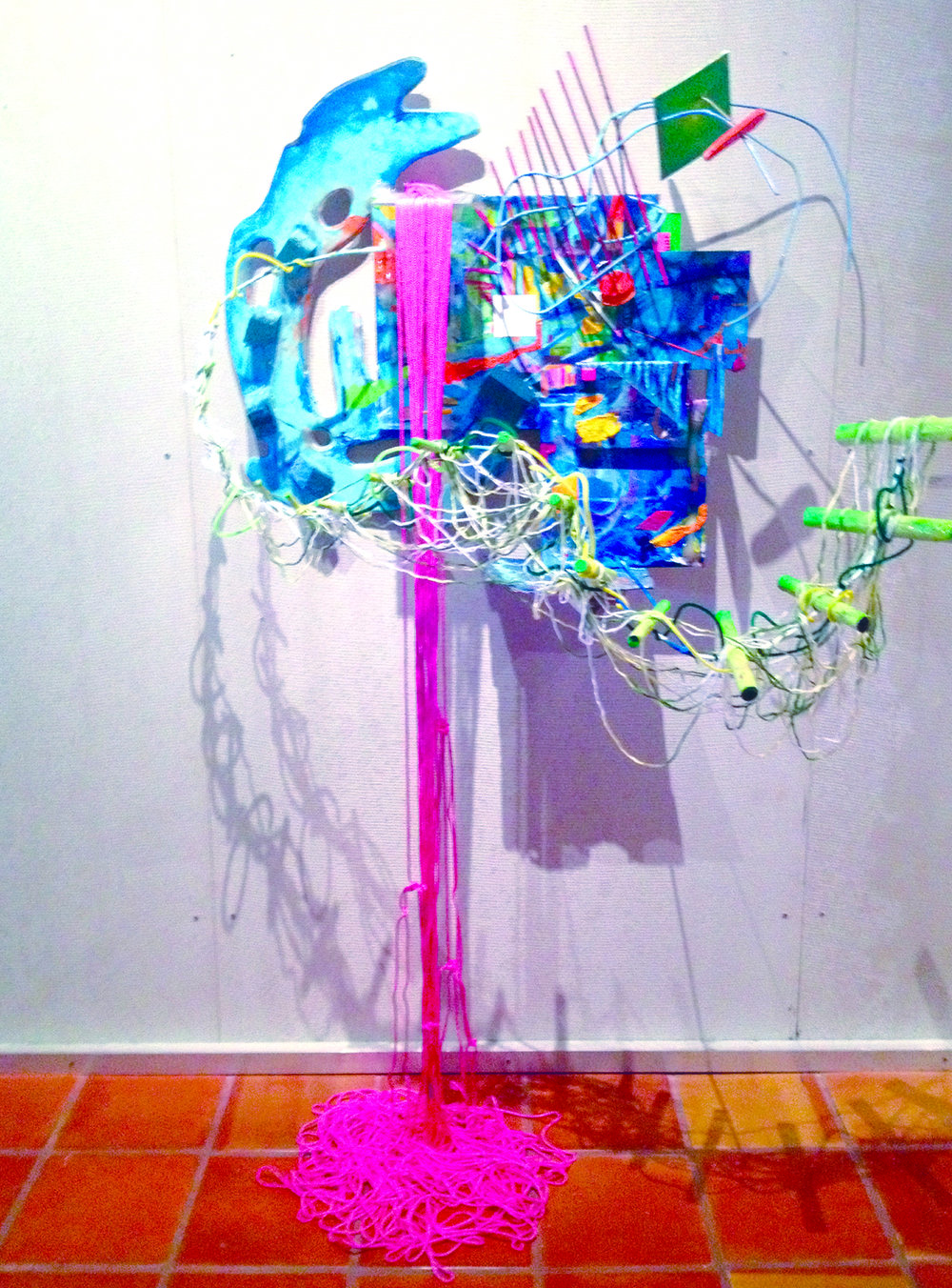 "Convergence  (2013)  Acrylic, enamel, yarn, wire, wood, rope, plastic, metal and canvas  78"" x 48"" 30"""