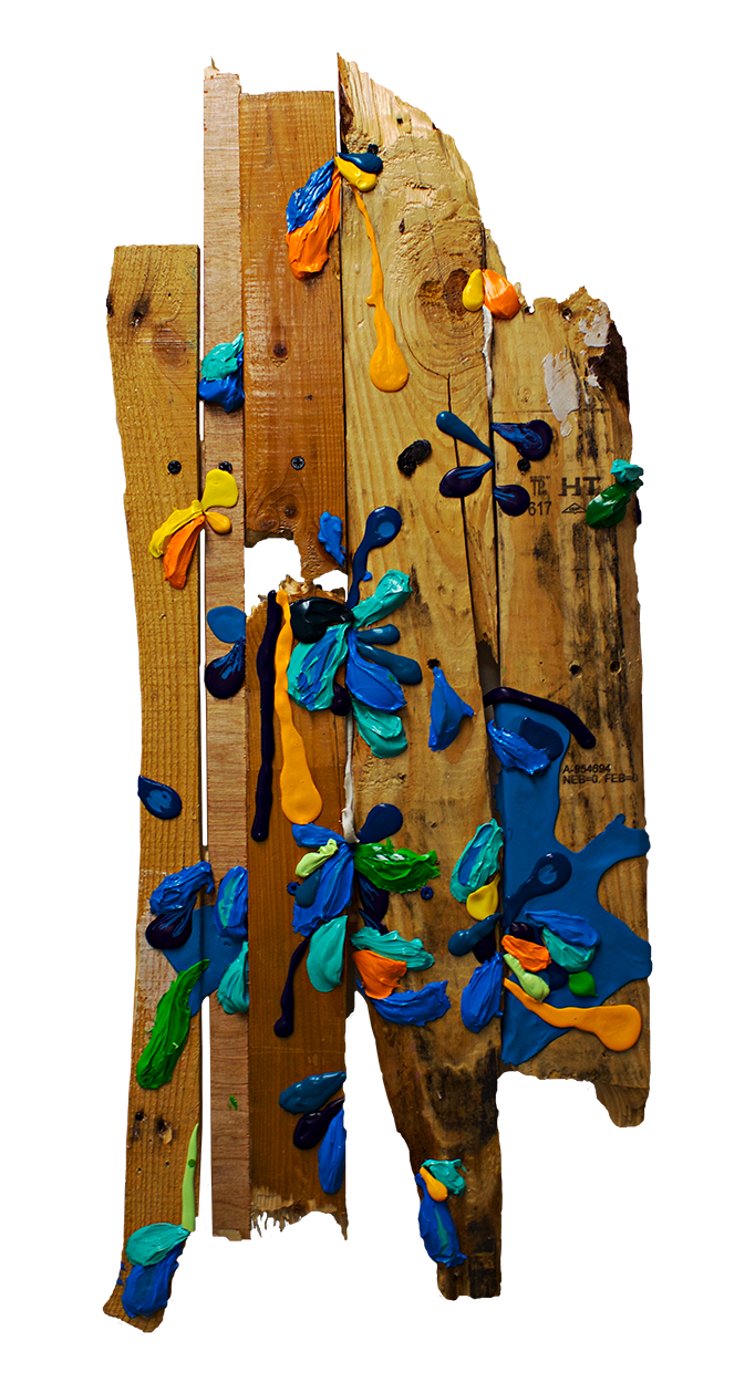 "Puerto Rican Landscape (Flamenco Beach)  (2016)  Found wood, acrylic, enamel, silicon, screws, glue and varnish  36"" x 14"" x 3"""