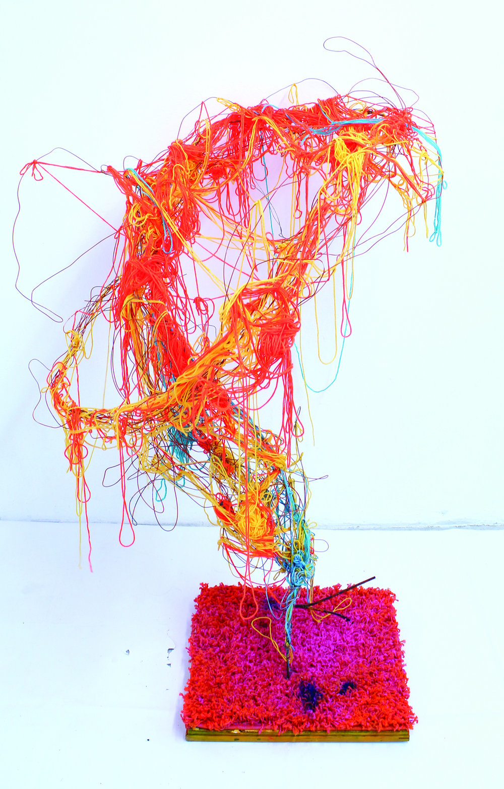 "From The Ground Up  (2014)  Wire, wood, rug, yarn, metal and spray paint   48"" x 36""x 36"""