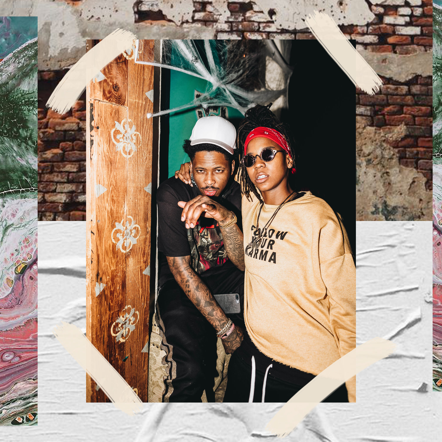 YG AND GIZZLE ATTEND TY DOLLA $IGN'S BEACH HOUSE 3 LISTENING PARTY OCTOBER 31 / PHOTO CREDIT: KAITO / DESIGN CREDIT: VANESSA ACOSTA