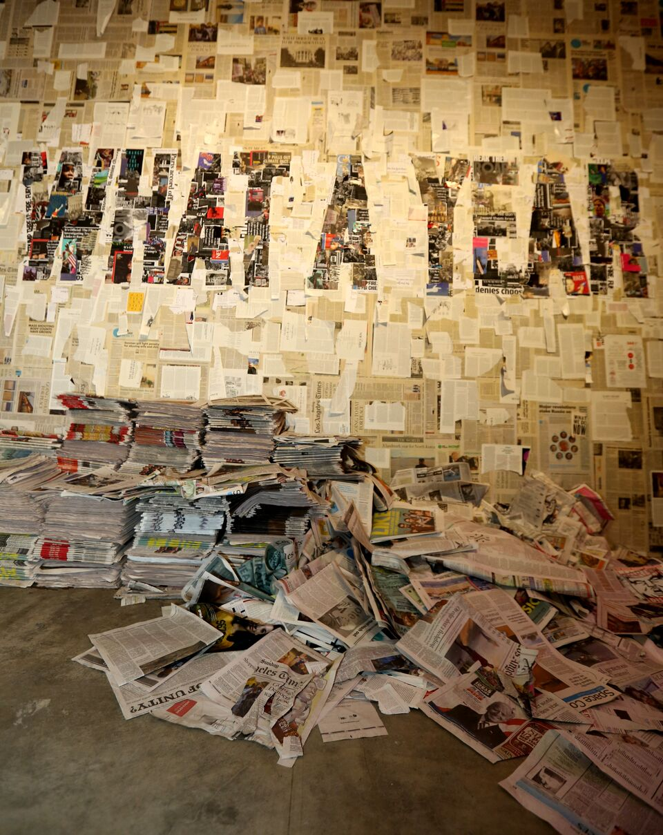 THIS INSTALLATION IS MADE BY NEWSPAPER CLIPPINGS FROM 2017 / PHOTO CREDIT:  HADAS