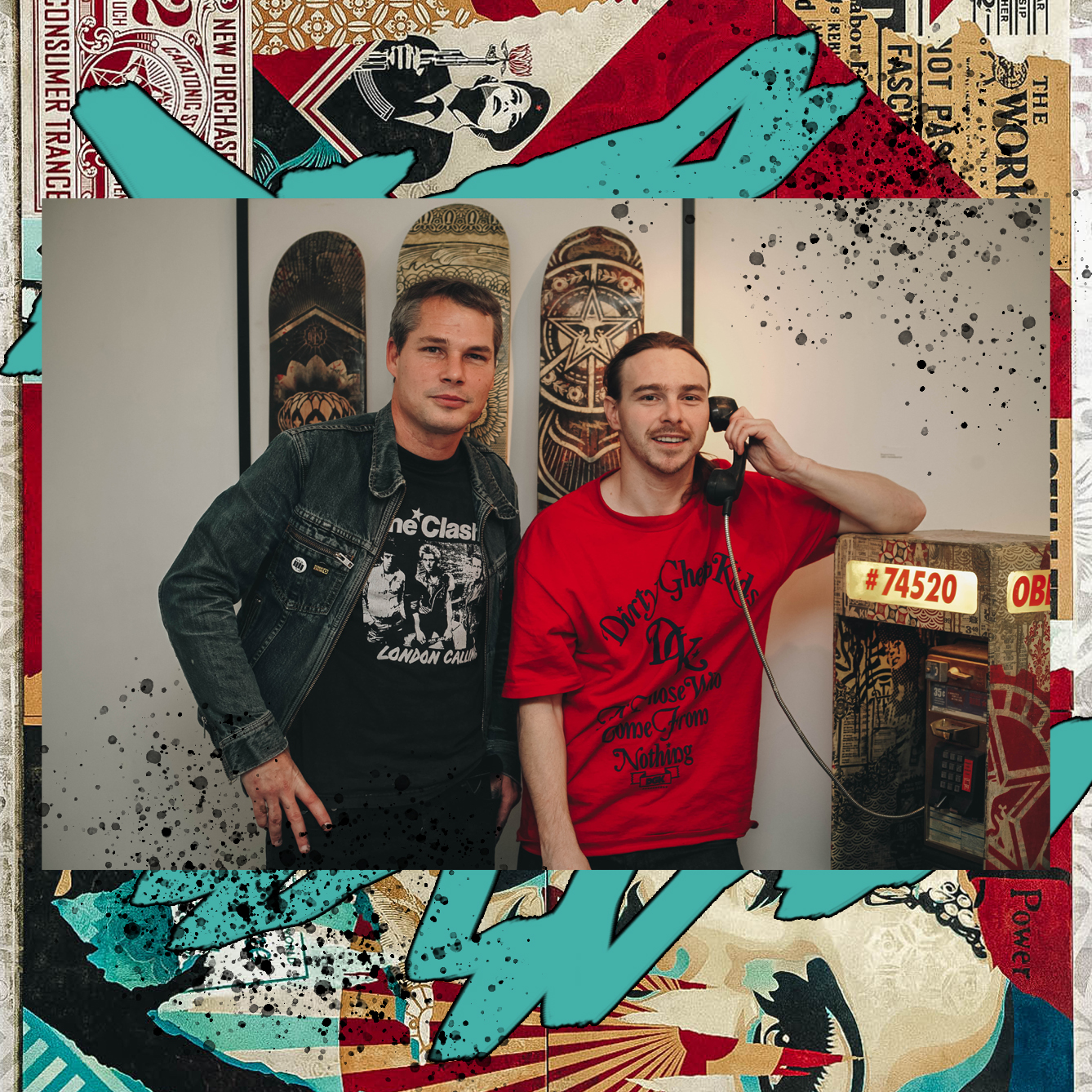 "SHEPARD FAIREY AND JOHN TRACY AT ""DAMAGED"" EXHIBIT / PHOTO CREDIT: SHEPARD FAIREY /  DESIGN CREDIT: VANESSA ACOSTA"