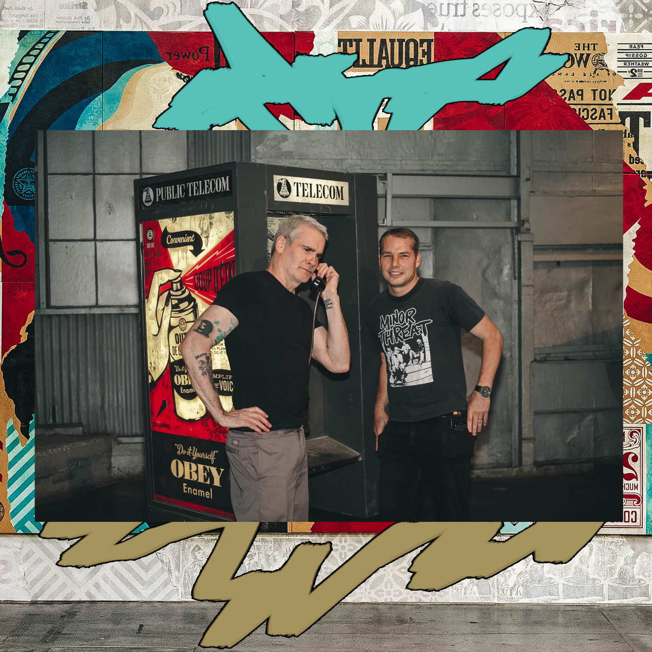 HENRY ROLLINS AND SHEPARD FAIREY IN FRONT OF JOHN TRACY'S PHONE BOOTH INSTALLATION / PHOTO CREDIT: SHEPARD FAIREY /  DESIGN CREDIT: VANESSA ACOSTA