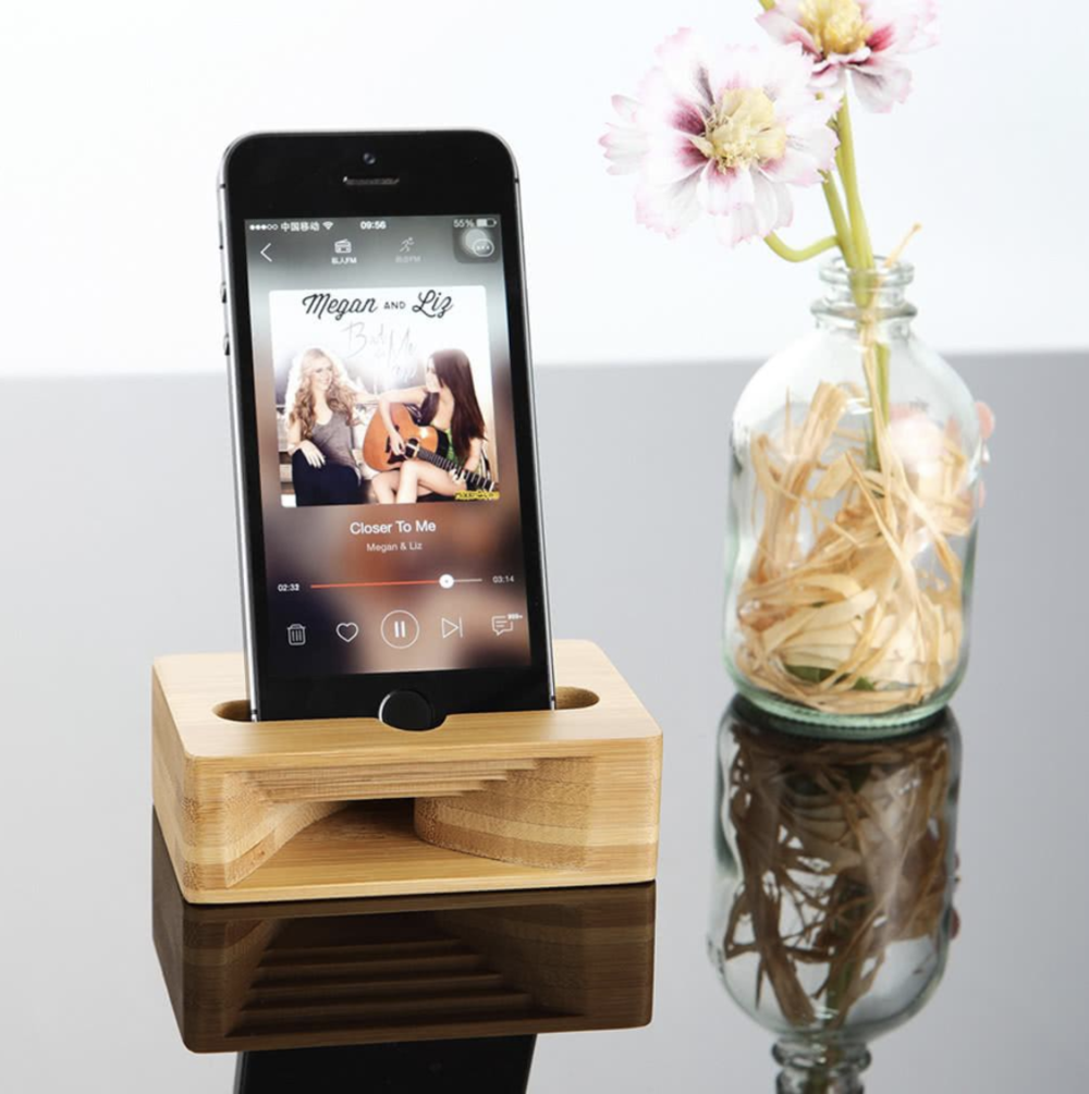 PHOTO CREDIT: REBEL CITIZEN - PURCHASE THIS BAMBOO WOOD DOCK WITH SOUND AMPLIFIER ON  REBEL CITIZEN'S SHOPIFY PAGE