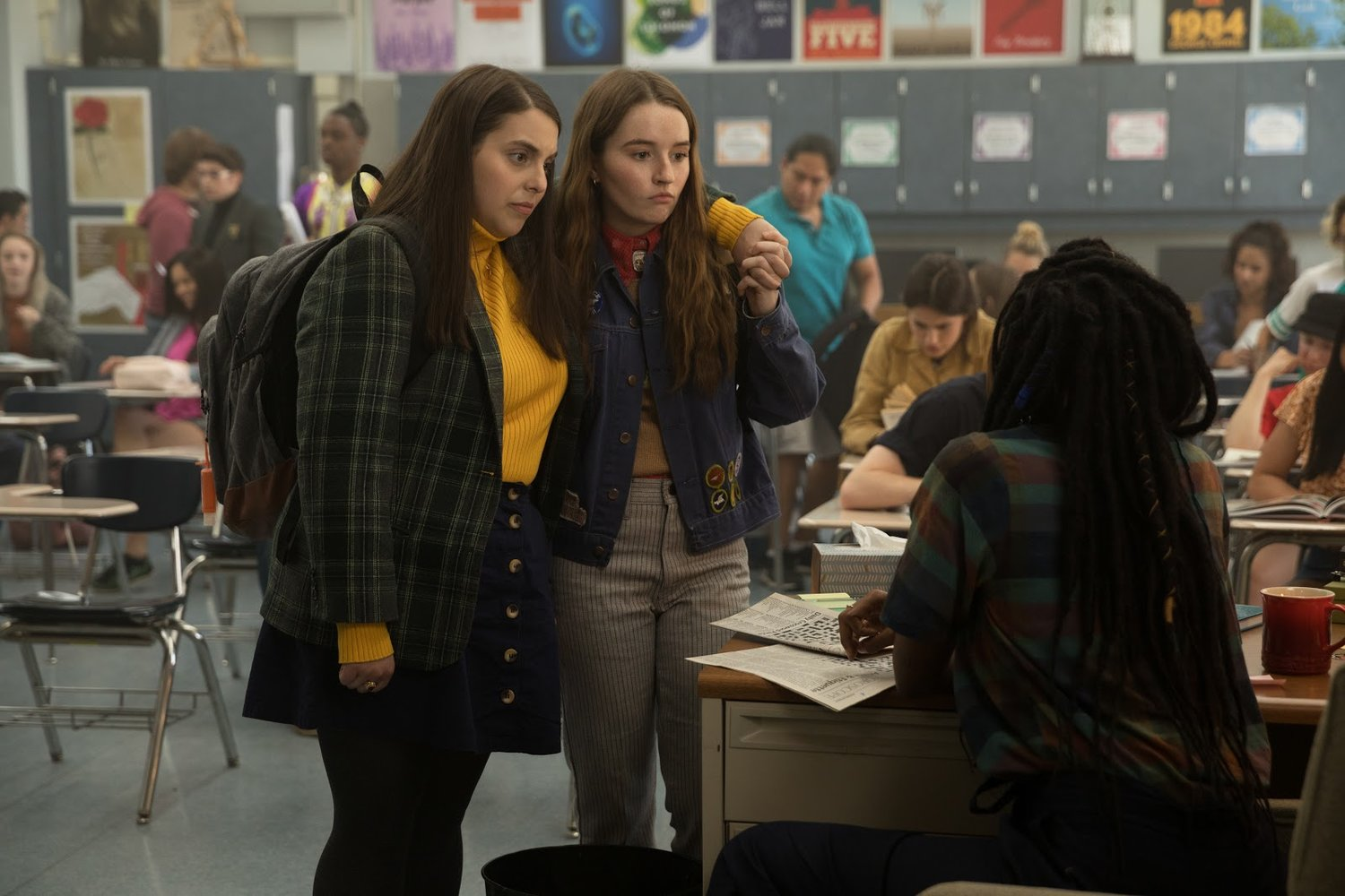 Molly (Beanie Feldstein) is known for being studious, not her fun-loving personality that we see throughout the film. She wears turtlenecks and a blazer to stand out and channel Ruth Bader Ginsburg. Her personal style is meant to feel out of place in California, mirroring her character being out of place in school. Photo Credit: Annapurna Pictures