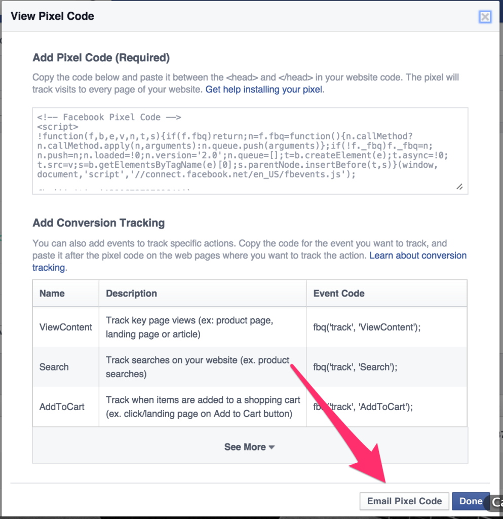 Install FB Pixel Code on your site