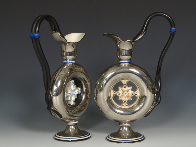 Pair of English creamware Silver Lustre Ewers, c.1810, (Provenance – John J. Snyder Jr, Landsville, PA.)