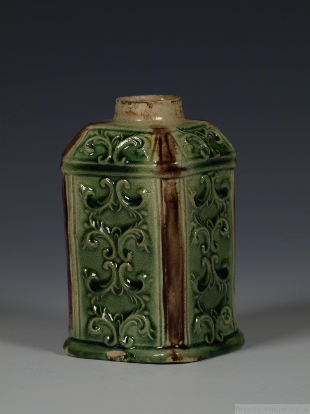 "Staffordshire Whieldon-type Creamware Tea Caddy, c.1760,4¼""."