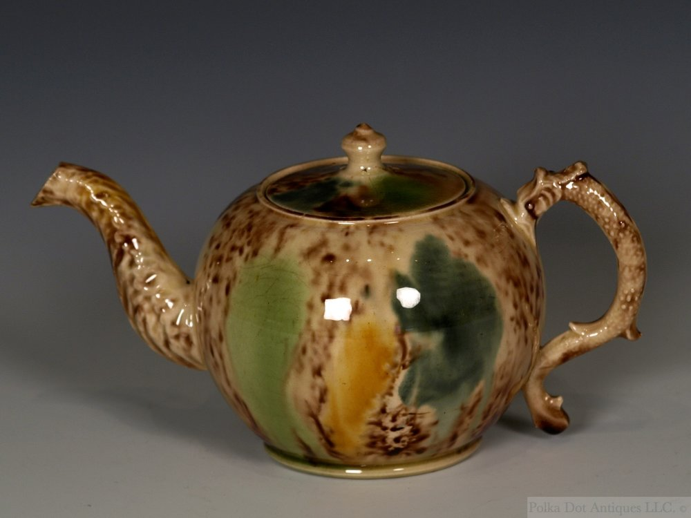 "Staffordshire Whieldon-type Creamware Small Teapot and Cover, c.1770, 3 5/8"" high."