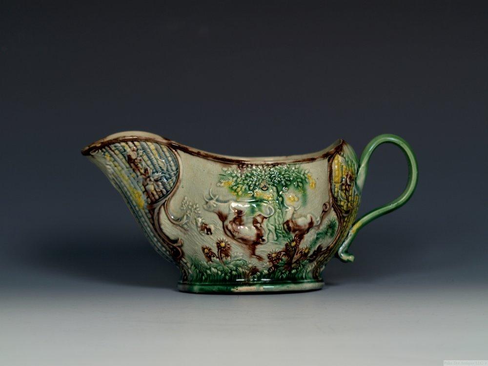 Whieldon Type Creamware 'Landskip' Sauceboat, c.1765