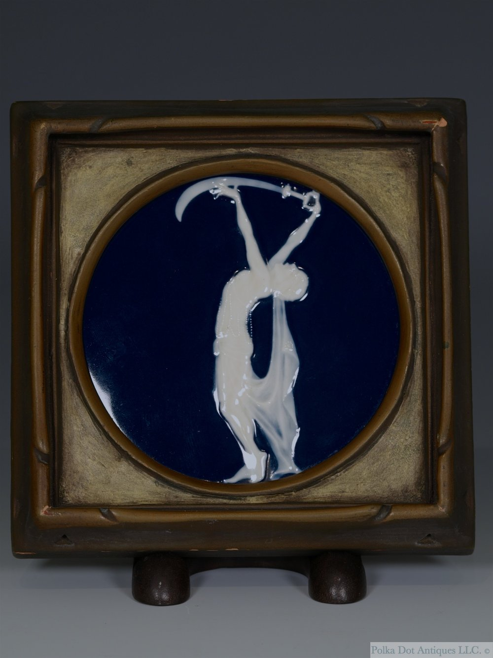 Rare Lois Whitcomb Rhead Pâte-sur-pâte Framed Plaque 'The Scimeter', 1920-22