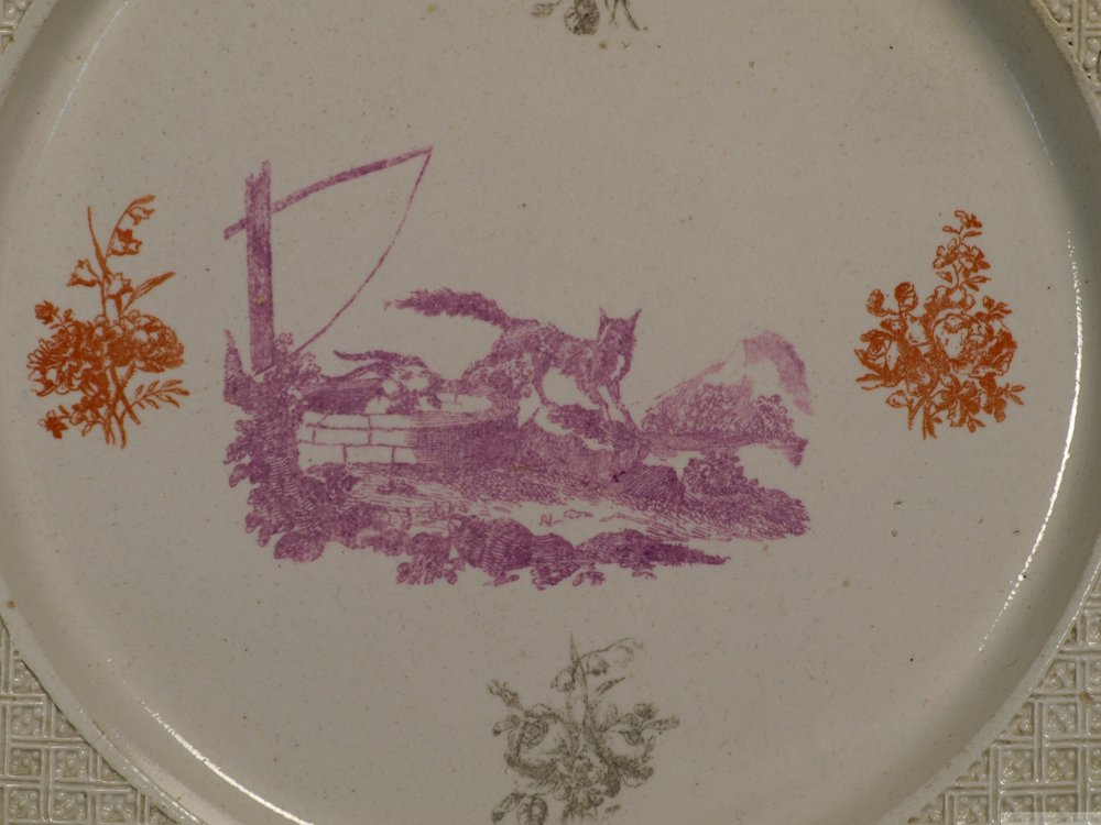 Very Rare Staffordshire Salt-Glazed Three Color Printed Plate, 1756-60