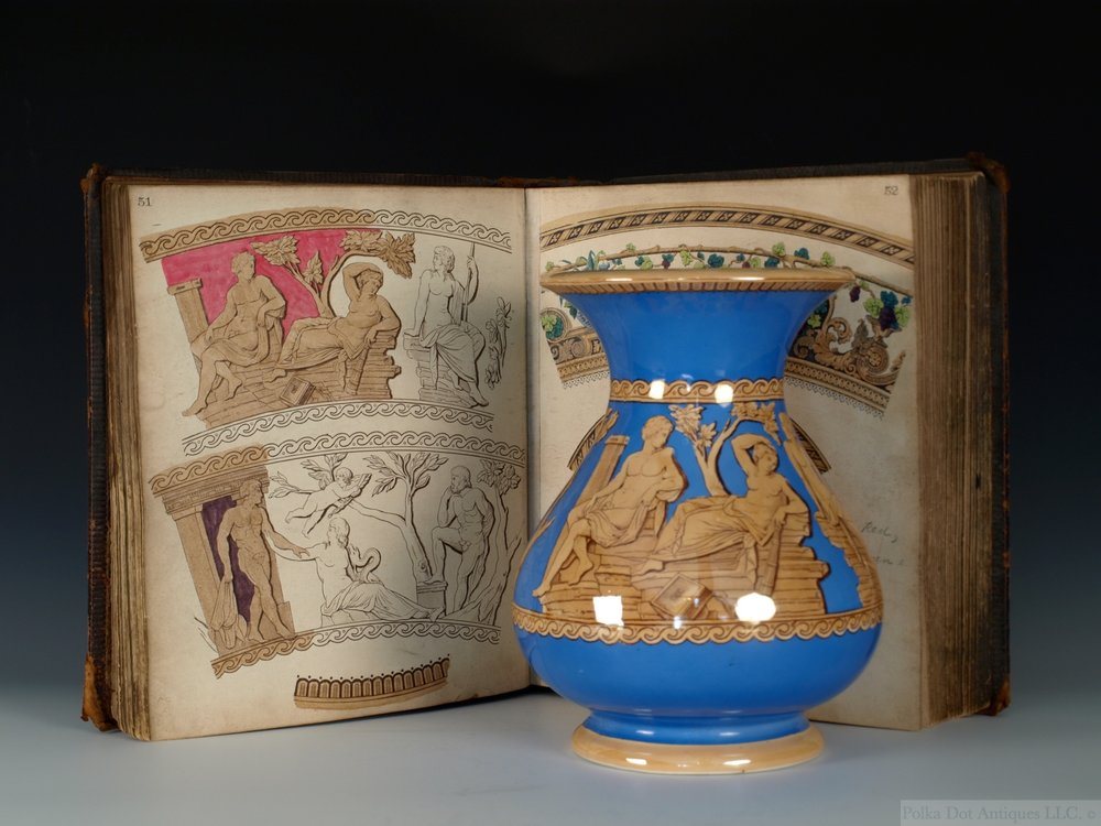 Furnivals Pattern Book, 1890-1930s, and vase.