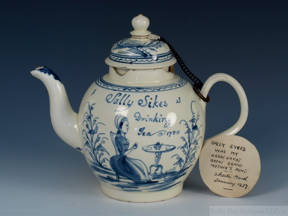 "Staffordshire Creamware Dated Teapot, ""Sally Sikes Drinking Tea, 1780"""