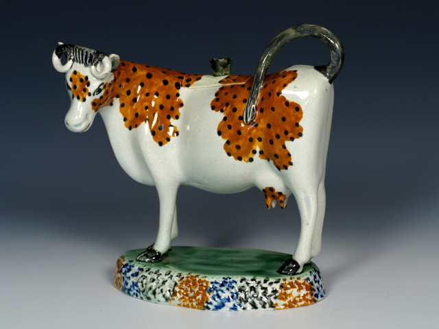 RW001214 - Yorkshire Prattware Cow Creamer and Cover - 3.jpg