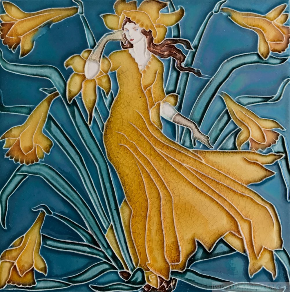 "Pilkington Royal Lancastrian Pottery Tile ""Daffodil"" Designed by Walter Crane, 1900 – 1901, 6"" x 6""."