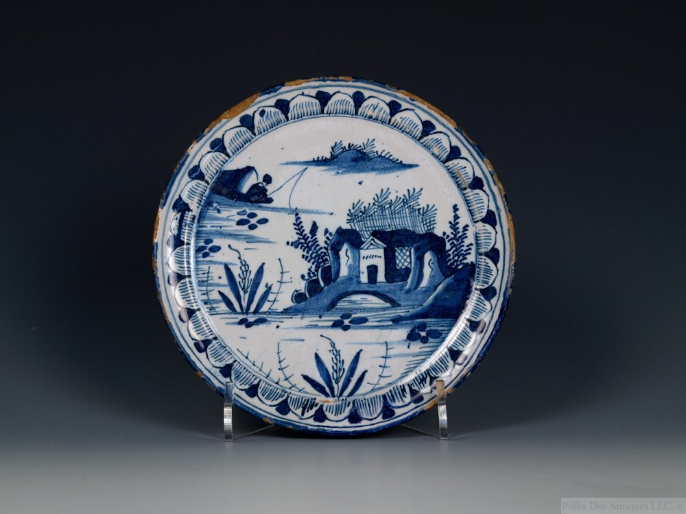 "English Tin-Glazed Earthenware Footed Dish, 1710/20, possibly London, 5 3/8th""."