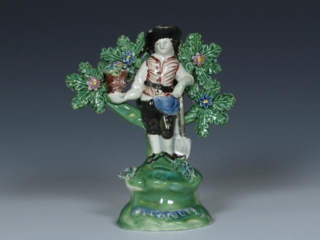 "Walton Staffordshire Pearlware Figure of a Gardener, c.1820, 5½"""