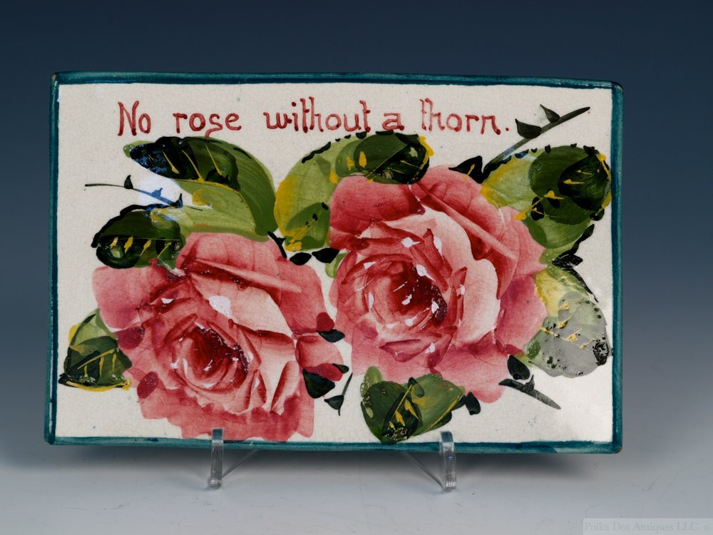 "Wemyss Pin Dish, c.1900, hand painted with cabbage roses, "" No Rose without a Thorn "",   5¾""."