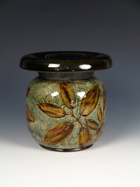Doulton Lambeth Salt Glazed Stoneware 'Natural Foliage Ware' Cuspidor, 1902-1922, made for a Boston retailer, J. McD & S Co.