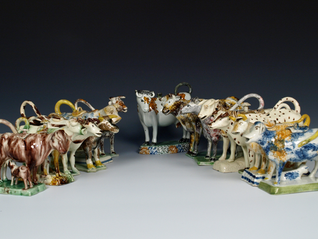 Collection of Staffordshire Pearlware Cow Creamers.