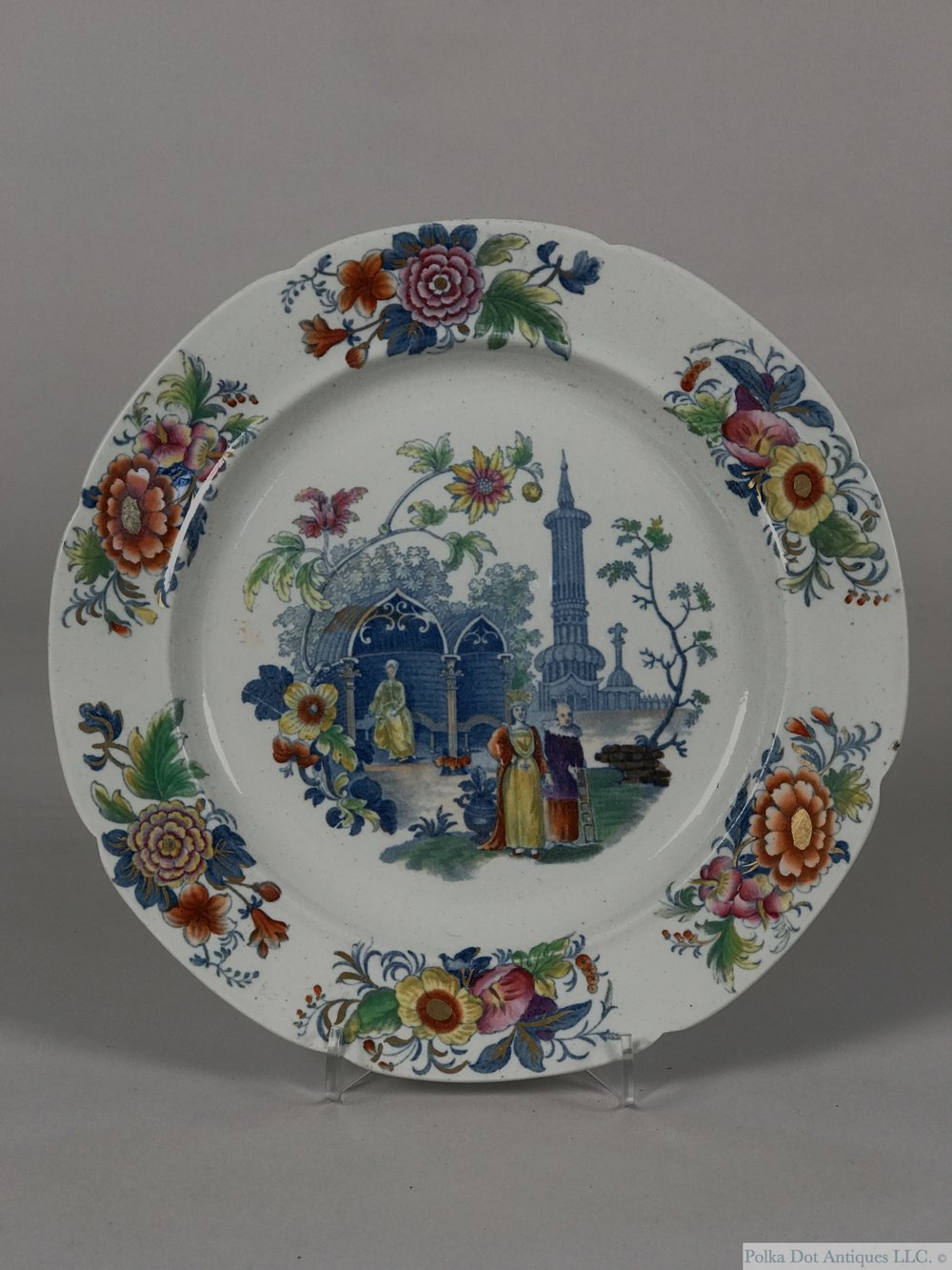 "English Ironstone Dinner Plate, c1840, printed and painted with a Gothic Chinoiserie scene, 9½"".   RPW0129 - $110"