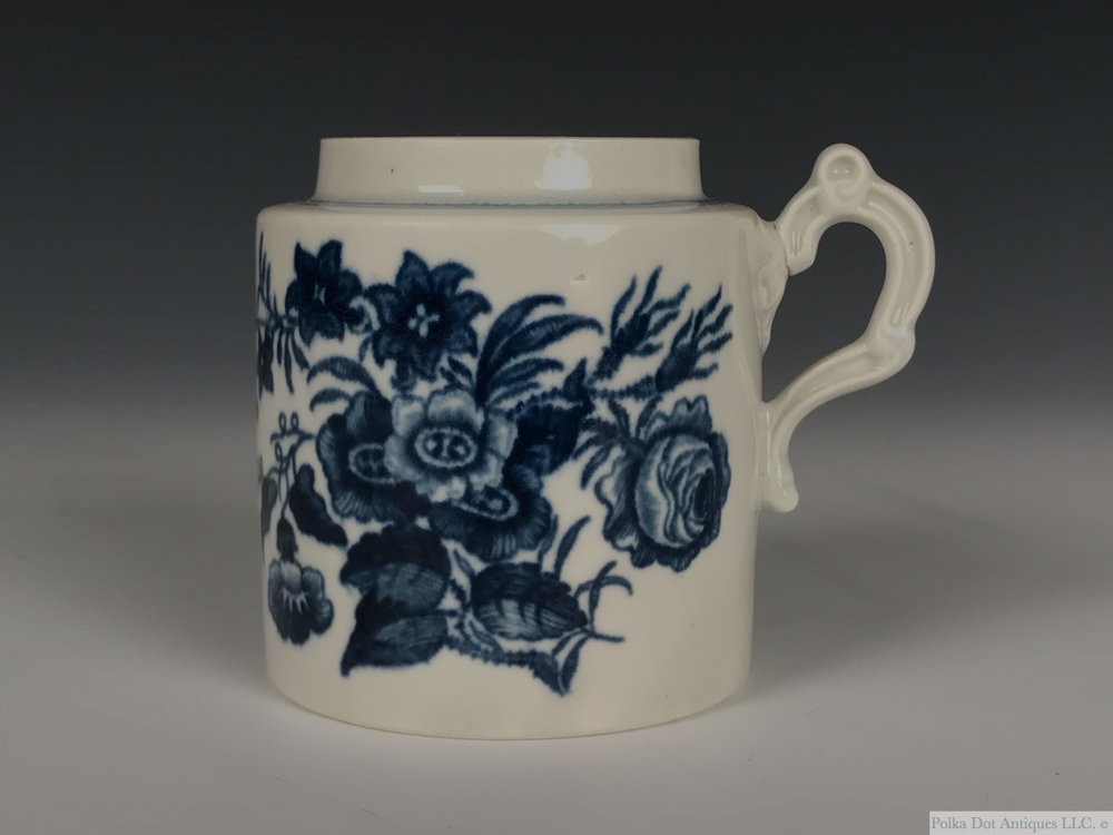 "Worcester Blue and White Porcelain ""The Three Flowers"" Mustard Pot, 1775-1785, cylindrical form, shaded crescent mark, 2 7/8th"".  Lacking cover.    RPW00284 - $80"