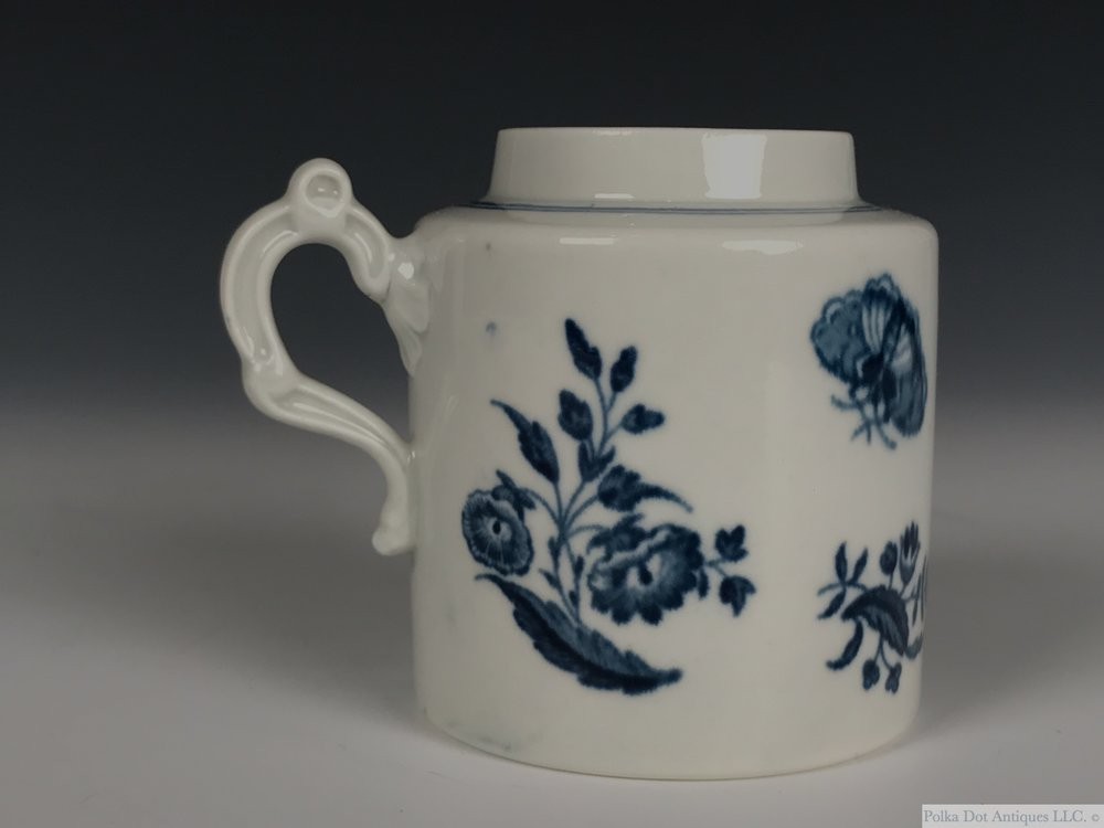 "Worcester Blue and White Porcelain ""The Three Flowers"" Mustard Pot, 1775-1785, cylindrical form, shaded crescent mark, 2 7/8th"".  Lacking cover.    RPW00285 - $80"