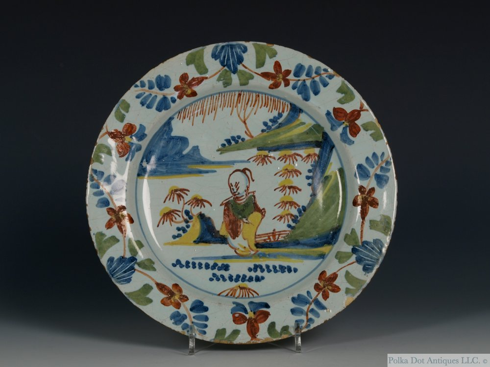 """English Delftware Polychrome Chinoiserie Plate, Bristol, 1730-40, painted in red, blue yellow and green, 6¾""""."""