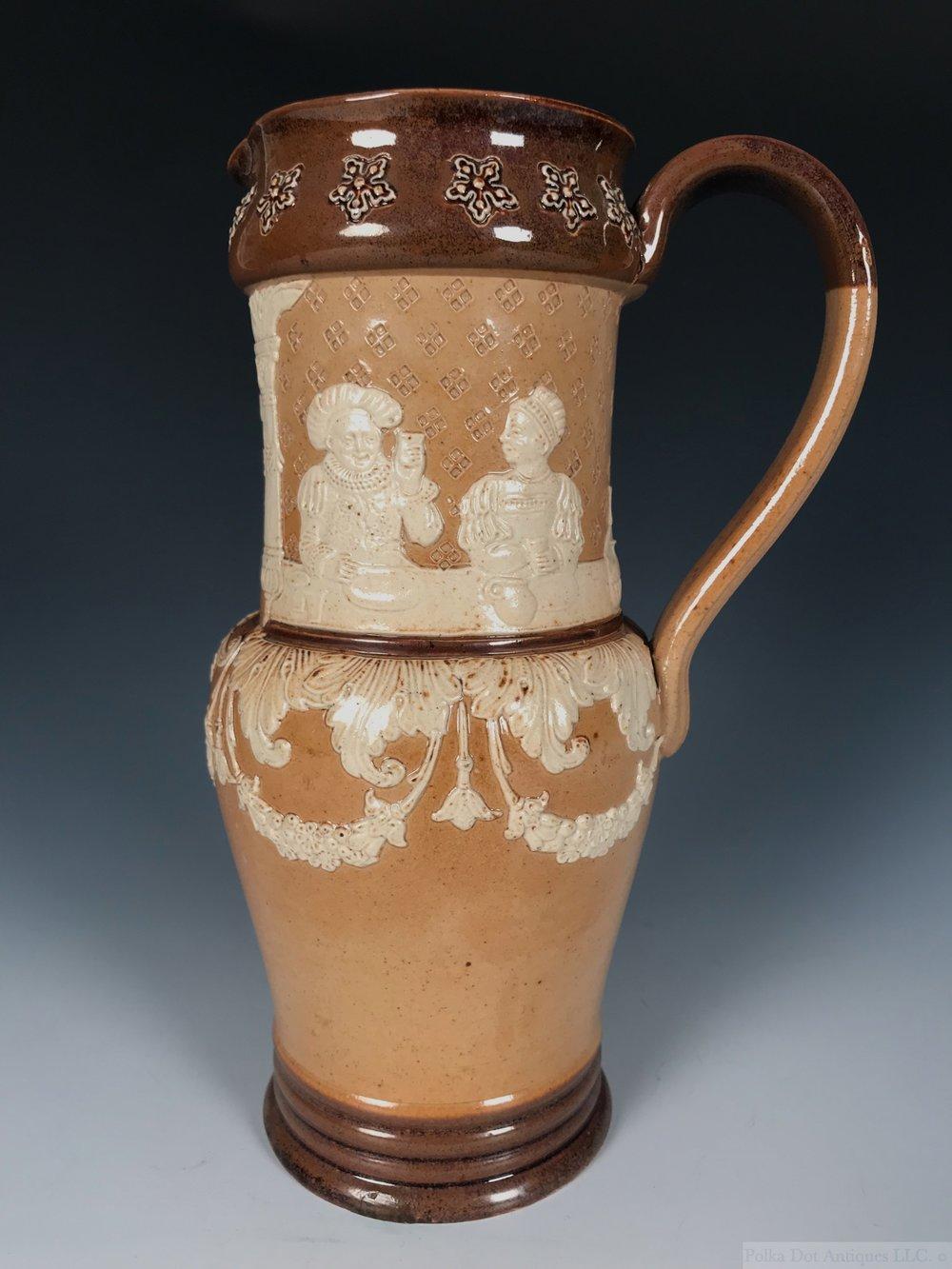 "Doulton Lambeth Salt Glazed Stoneware Jug, 1891-1902, 9¼"" high."