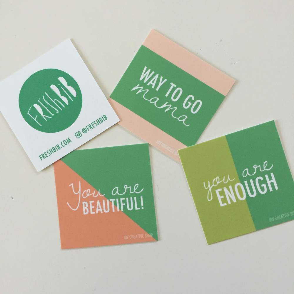 Brooke's encouragement cards for new moms (printed by Moo.com)