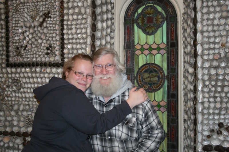 Dad and Me at the Shell Chapel (St. Anne's Chapel) on the campus of Saint Mary of the Woods