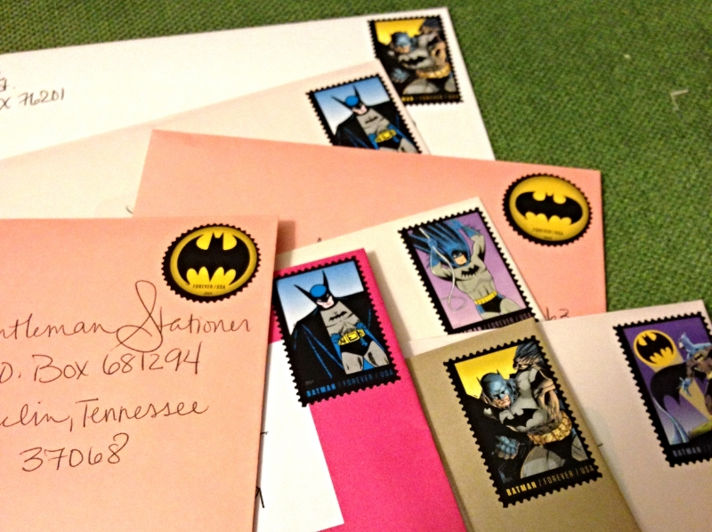 He might not be the hero Gotham needs, but he's the stamp I needed for this project! My post person probably thought I was crazy with the amount of letters I was mailing out.