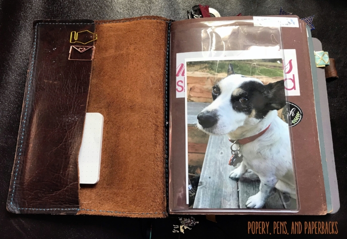 Naturally, Gary is the first thing you see when opening my notebook. Clear vinyl dashboard from  Lime Life Planners . Fountain pen clip from  Pen Chalet . Envelope Clip from  Pug Paper Co .