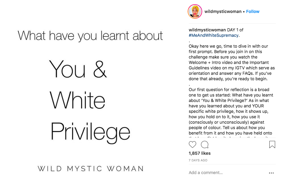I'm participating in Layla Saad's #meandwhitesupremacy 28 day challenge. I probably won't post every day, but will lump posts together. I invite you to join me and do the same.