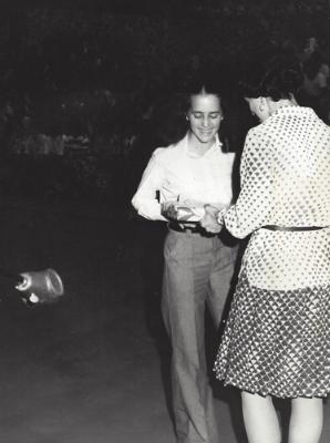 Terry Welch and Art Teacher, Anita Ferranti, Awards Day, Acton-Boxborough Regional High School, 1974.