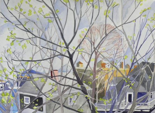 "Teresa Welch, Springtime In Cambridge , watercolor, 22"" x 30"""